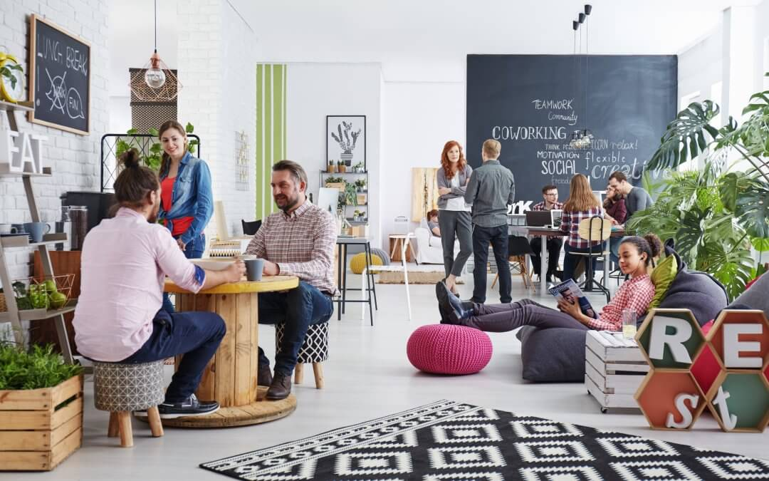 People using a co-working space